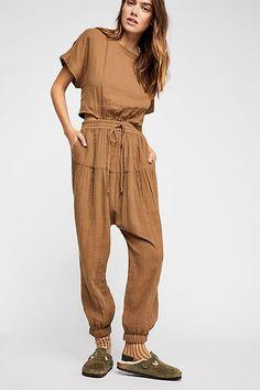 67fd6dcdc5 Heartstone Jumpsuit - Tan Short Sleeve Harem Pant Jumpsuit - Comfortable  Jumpsuit - Casual Jumpsuits -