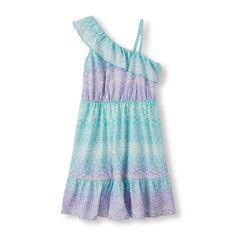 Girls Sleeveless Paisley One-Shoulder Tank Dress - Blue - The Children's Place