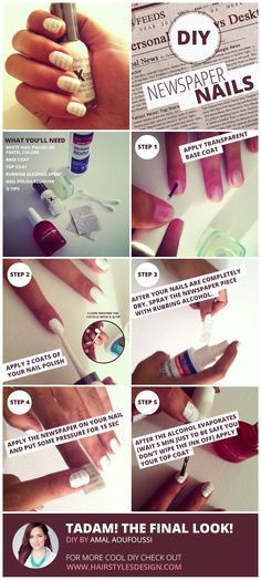 This is kinda super cool. Now I wish I painted my nails more.  DIY : Newspaper Nails