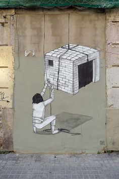 Hyuro is an Argentinian-born street artist that is currently based out of Valencia, Spain. His works are full of movement and are mostly composed in black and white.