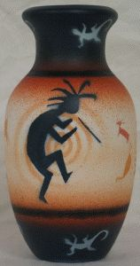 """Stone Vision Pottery - Bud Vase. 3-1/2"""" x6"""". Authentic Native American Pottery hand painted by Navajo and Ute Indian Artists. Certificate of Authenticity with each piece. Southwest Pottery. Kokopelli. $26.95"""