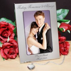 Personalized Engraved Today, Tomorrow & Always Wedding Silver Picture Frame - Gifts Happen Here