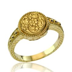 18k Gold Art Nouveau Foilage Engraved Ring by netawolpe on Etsy, $699.00