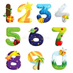 Buy Numbers Set by artisticco on GraphicRiver. A vector illustration of a set of numbers in fun design. Vector illustration, zip archive contain eps 10 and high res. Animal Dictionary, Funny Numbers, Chalk Drawings, Tag Design, Graphic Design, Color Vector, Alphabet And Numbers, Lettering, Vector Pattern