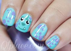 Monster inc Sully nails   Want my nails like this for Zaiden's birthday Disney Nail Designs, Nail Art Designs, Nails Design, Love Nails, Fun Nails, Monster Inc Nails, Simple Disney Nails, Disney Nails Art, Disney Manicure