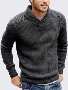 Shop a great selection of Runcati Mens Sweaters Shawl Collar Slim Fit Pullover Fall Winter Casual Knit Ribbed Coat. Find new offer and Similar products for Runcati Mens Sweaters Shawl Collar Slim Fit Pullover Fall Winter Casual Knit Ribbed Coat. Pullover Mode, Pullover Sweaters, Men Sweater, Cable Sweater, Knitting Sweaters, Mens Pullover, Mens Sweater Styles, Mens Cowl Neck Sweater, Mens Sweater Outfits