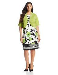 Jessica Howard Women's Plus-Size Sleeveless Floral Fit and Flare Dress