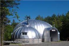 Chalet à louer St-Julien, Chaudière-Appalaches, Base Alpha, fait avec des dômes de silos ?