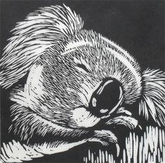 ✦   'koala'  -  rowanne anderson -  linocut  http://www.rowanneanderson.com