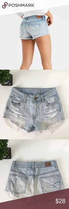 """AMERICAN EAGLE Vintage High-Waisted Festival Short Gently used condition. Inspired by vintage cutoffs, this fit sits high on the waist with a relaxed fit through the thigh. Rigid denim with no stretch. Waist: 12 1/2"""". Hips: 16 3/4"""". Inseam: 2 1/2"""". Rise: 9"""". 100% Cotton. I describe my items to the best of my ability. Ask any questions before purchasing. American Eagle Outfitters Shorts Jean Shorts"""