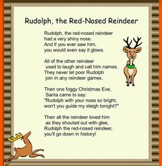 Rudolph the Red-Nosed Reindeer Rhyme for xmas cards
