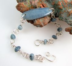 Leland bluestone and sterling silver bracelet by rwilberg on Etsy