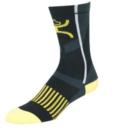 Hooey Men's Youth Yellow Black Mid calf Performance Socks
