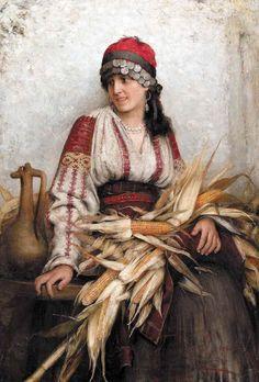 Franciszek Teodor Ejsmond (Polish), A Romanian Maiden, 1885 (JPEG Image, 705 × 1024 pixels) - Scaled Romanian Girls, Ukrainian Art, Gypsy Life, Classical Art, Folk Costume, Renoir, Mehendi, Les Oeuvres, Old Photos