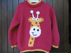 Pull enfant motif girafe de 2 ans à 6 ans 100% fait main