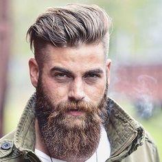 Undercut with Brush Back and Full Beard #menshairstylesundercut
