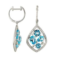 Topaz & Diamond Dangle Earrings