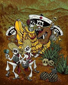 Day of the Dead artist David Lozeau paints Dia de los Muertos art, skeleton art, sugar skull art, and candy skull art in his unique Lowbrow art style. Anchor Drawings, David Mann Art, Day Of The Dead Artwork, Demon Drawings, Catrina Tattoo, Geometric Symbols, Mexico Culture, Skull Artwork, Skeleton Art