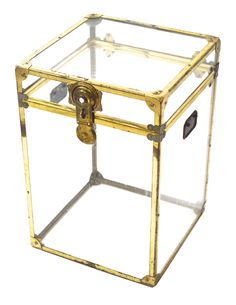 Small Vintage Lucite and Brass Trunk on Chairish.com