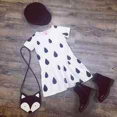 Munster dress, Dr Martens, Fall Broken Street Kids hat, Milk n Soda Fox bag.