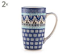 Set di 2 mug in ceramica Marakesh, blu/bianco - 400 ml