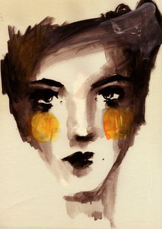 face_sketch by Ekaterina Koroleva, L'art Du Portrait, Abstract Portrait, Art Visage, Face Sketch, Sketch Ink, Painting People, Art And Illustration, Arte Pop, Art Sketchbook