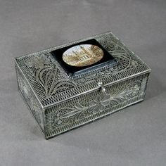 Antique Italian Silver Filigree Jewelry Box w Grand Tour Micromosaic of Venice | eBay