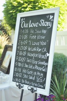 blackboard for writing his and her vows, for guests who were not present at the wedding