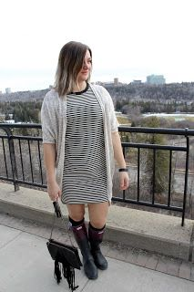 OOTD - Stripes and Hunter Boots