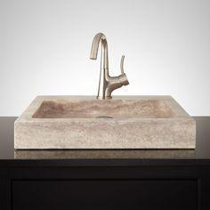 Square+Polished+Travertine+Vessel+Sink