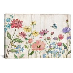 Our Wildflower Flutter on Wood Canvas Art Print will add texture to your walls. Its wood plank design illustrates floral blooming against a backyard fence! Wood Canvas, Canvas Artwork, Canvas Art Prints, Painting Prints, Art Paintings, Painting Tips, Garden Mural, Fence Art, Detail Art