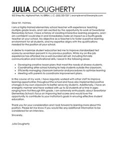 Teacher Cover Letter Examples | Education Sample Cover Letters | LiveCareer