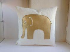 ELEPHANT Pillow Cover - pillow case 40x40 cm (ca. 16x16 in), off-white felt with golden elephant applique, zipper