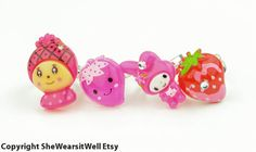 Girls Rings Set of FOUR Adjustable Childrens by SheWearsitWell, $10.00