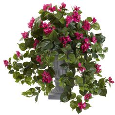 Nearly Natural 27-inch Bougainvillea with Decorative Urn Arrangement (White)