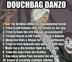 """Day 28: Least favorite villain  Perfect, a numbered list of reasons to hate this guy. Seriously, he's lucky Hiruzen was so nice and didn't have him executed for treason... How many villains did this guy create thanks to his actions? How many people were killed for """"peace""""?"""