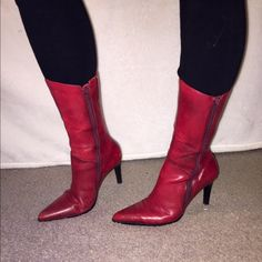 "Red boots! 👠 In a very good condition. Size says 7M but also good for 6.5. Working zipper on both sides. Length approx: 12.5"", heel hight approx: 3.75"" ❤️. For someone with skinny calfs so that they can close all the way with the zipper. Diba USA Shoes Ankle Boots & Booties"