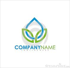 Modern simple logo design fresh organic consist of water drops and leaves