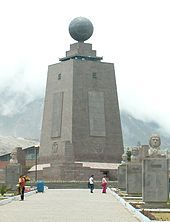 Quito, Ecuador . La mitad del mundo   The equator is the line of latitude that is the longest and lies along the circumference of the earth, halfway between the North Pole and the South Pole. Located at zero degrees latitude .
