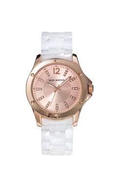 Sin dudas queras lucir un reloj original y con gran aptitud como este Mark Maddox. Reloj tres agujas brazalete con acabado carey blanco y cierre desplegable. Bisel con acabado IP Rosa. Cristal mineral e impermeable 30m (3ATM).