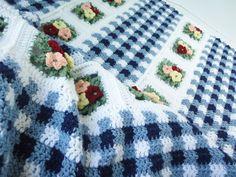 Blue Gingham Crochet Blanket in Spring Garden (Ready to Ship). $122.00, via Etsy.