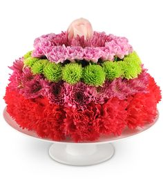 """This """"tasty"""" arrangement includes carnations, chrysanthemums, mini carnations, and a cheerful rose, displayed on a pedestal stand. Birthday Treats, Birthday Fun, Birthday Cake, Mini Carnations, Birthday Bouquet, Back To School Crafts, Summer Activities For Kids, Summer Boy, Perfect Pink"""