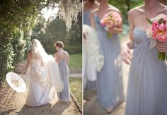 light and airy bride and bridesmaids  © Harwell Photography