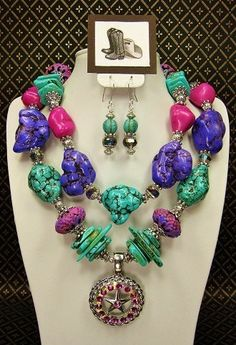 Cowgirl Up custom creations | ... PURPLE / FUSHIA Chunky Western Cowgirl Necklace Set - SPRinG EQUiNoX