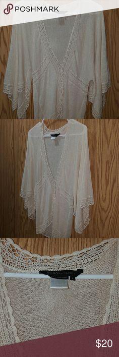 BCBG MAXAZARIA  BOHO Super Cute Sweater  Size Small  Cream in Color BCBGMaxAzria Sweaters Shrugs & Ponchos