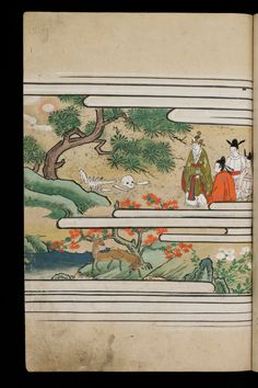 Japenese manuscript representing the Life of Buddha (Shaka no Honji). It's a Nara picture book. Four rich dressed men are looking at a human sekeleton on the ground. Around them, there's trees, red and white flowers, and deers are browsing.  #Japan #Manuscript #picturebook #buddha #deer #kimono #skeleton