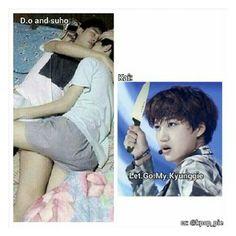 Haha XD It's sooooooo cuuuute Kaisoo, Exo Ot12, Chanbaek, Kyungsoo, Exo Memes, Exo Kai, Park Chanyeol, Yolo, Kpop