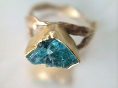 18kt Gold 14kt Gold and Raw Emerald Engagement Ring- Rustic Green Engagement Ring- Organic Wedding Ring Emerald- Rough Cut Emerald 18kt Gold on Etsy, $1,499.00