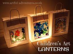 Children's Artwork Lanterns, I'm thinking art show! Preschool Art, Craft Activities For Kids, Projects For Kids, Diy For Kids, Art Projects, Crafts For Kids, Arts And Crafts, Boat Crafts, Paper Bag Lanterns