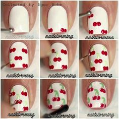 Give style to your nails by using nail art designs. Worn by fashionable personalities, these types of nail designs will incorporate instant style to your apparel. Cherry Nail Art, Fruit Nail Art, Pink Nail Art, Cute Nail Art, Cute Acrylic Nails, Nail Art Diy, Diy Nails, Cute Nails, Manicure